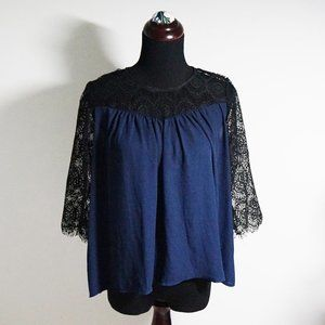 H&M Navy and Black Lace Yoke Top